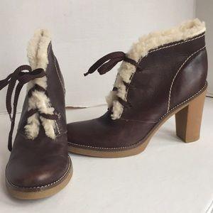 Bcbgirls 7.5 bootie fleece trim,leather